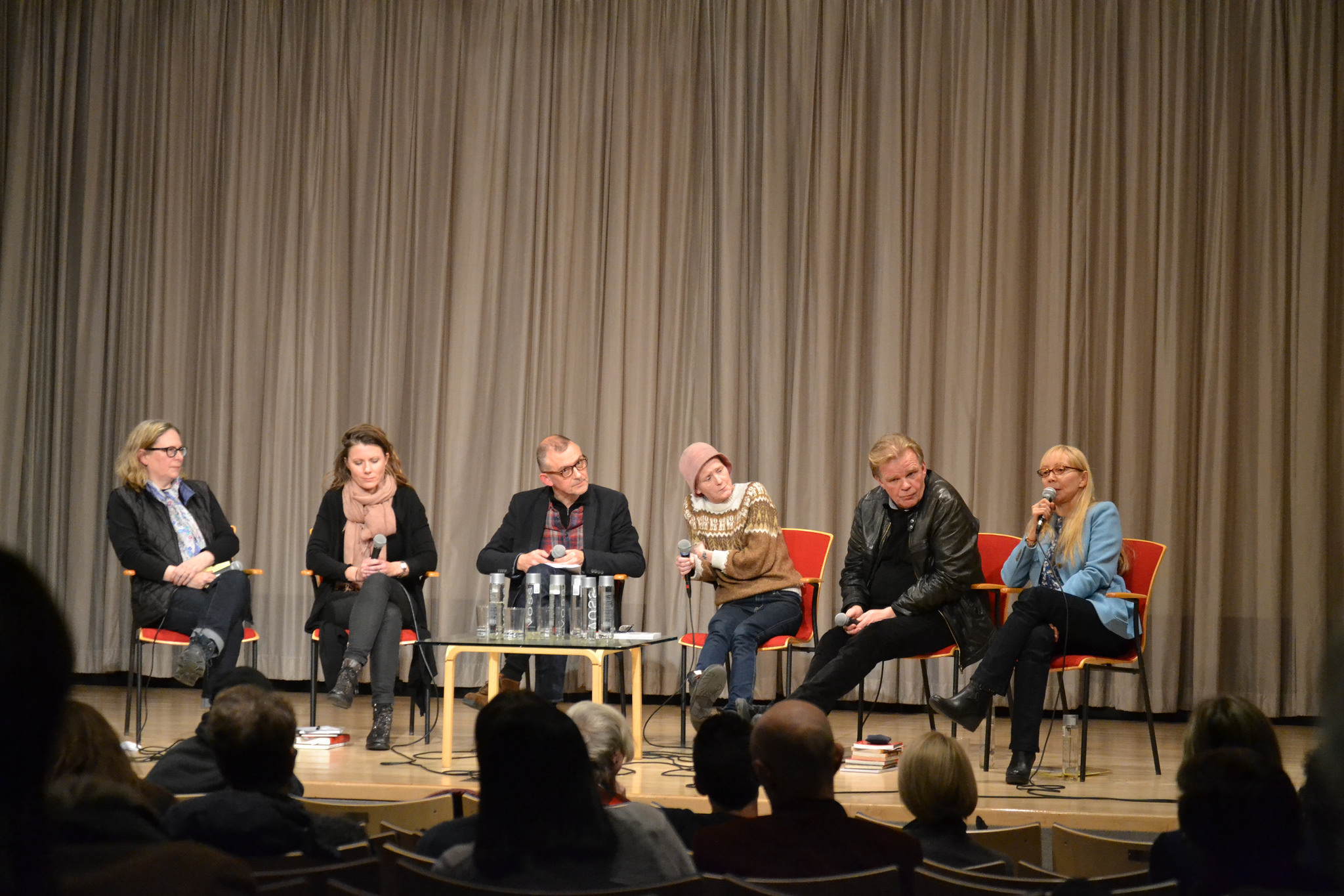 Helen Mitsios, far right, at the Scandinavia House poetry reading, with four of the seventeen poets featured in Beneath the Ice: An Anthology of Contemporary Icelandic Poetry (Talisman House Publishers).