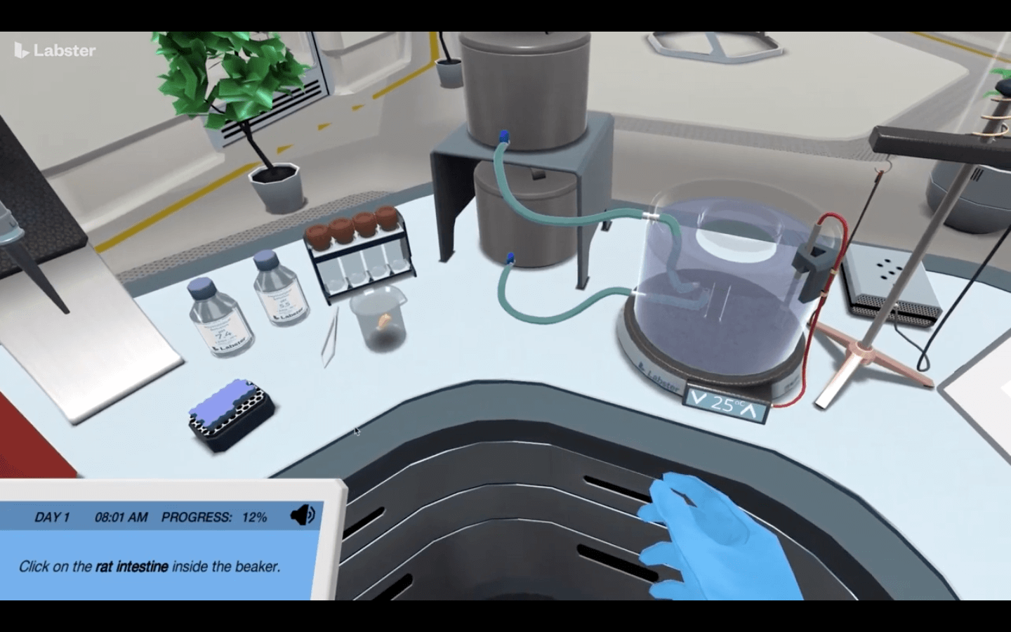 A screenshot from the Labster application. The program enables students to virtually experience working in a lab.