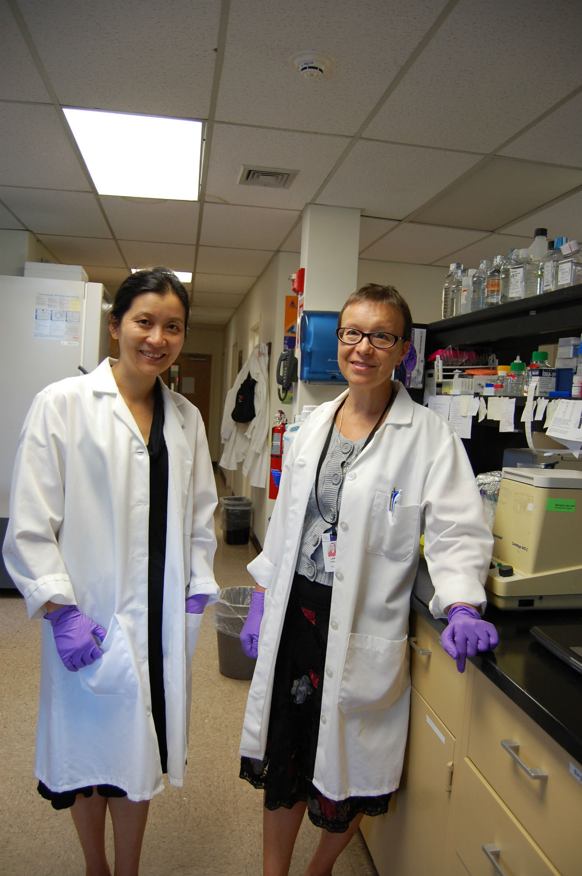 Dr. Yanling Liao (left) and research associate Dr. Larisa Ivanova at New York Medical College