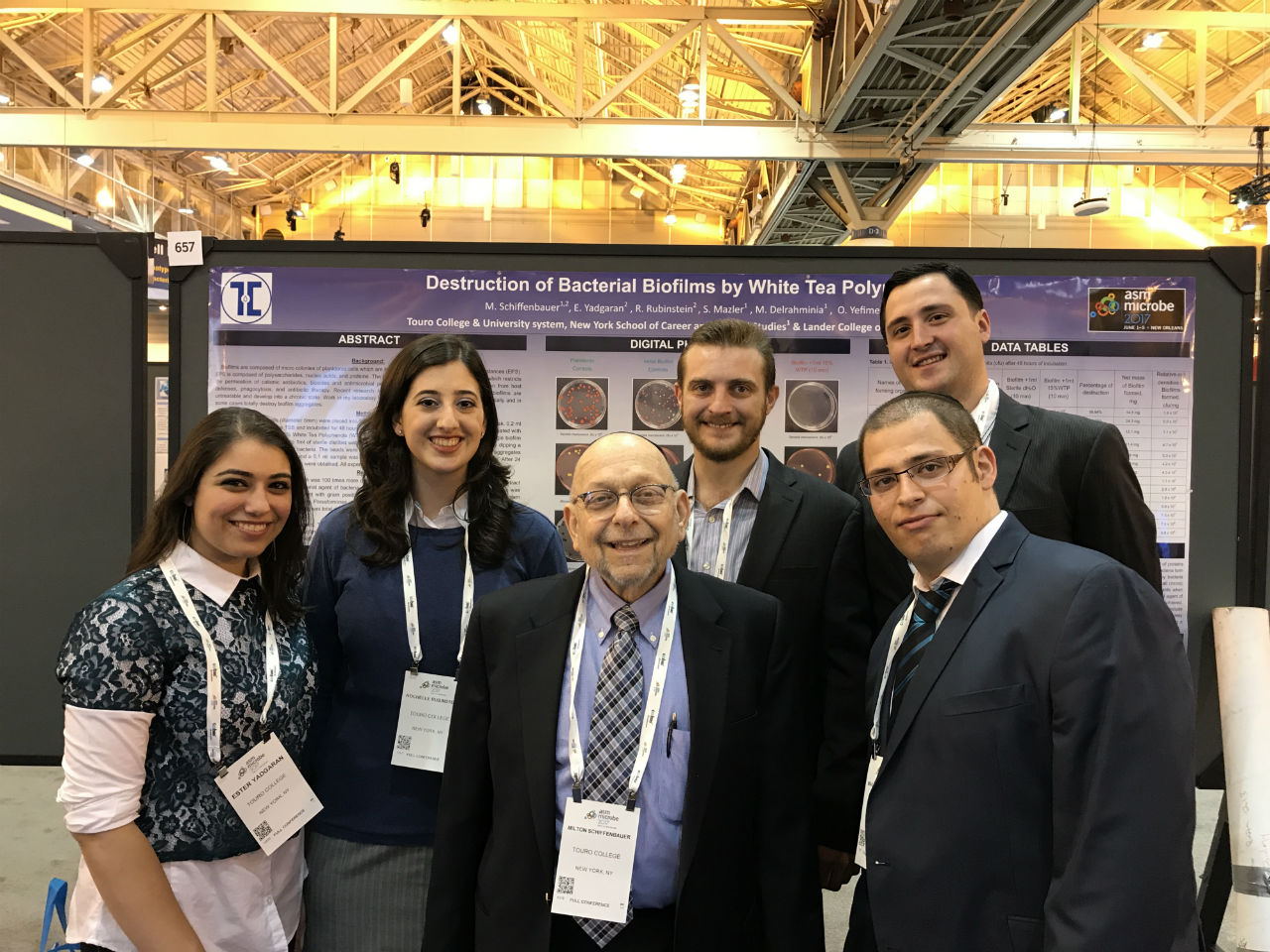 Dr. Milton Schiffenbauer and students at ASM. From left to right: Ester Yadgaran, Rochelle Rubinstein, Dr.  Milton Shciffenbauer, Oleg Yefimenko, Makan Delrahminia, Samuil Mazler